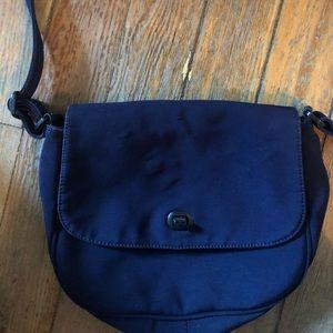 DAVID DART BLUE MATERIAL CROSSBODY BAG, clean
